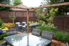 One of our latest garden designs in Esher. Esher Surrey, Planting, Garden Design, Pergola, Outdoor Structures, Patio, London, Landscape, Outdoor Decor