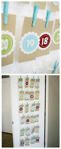 Christmas countdown using a Shoe Organizer. So perfect... love this idea!