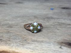 Unique opal and peridot ring 14K by VictoriaVVintage on Etsy