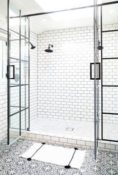 White Subway Tile Bathroom With Patterned Bathroom Floor Bad Inspiration, Bathroom Inspiration, Bath Remodel, Bathroom Flooring, Concrete Bathroom, Cement Tiles, Bathroom Remodeling, Beautiful Bathrooms, Small Bathroom