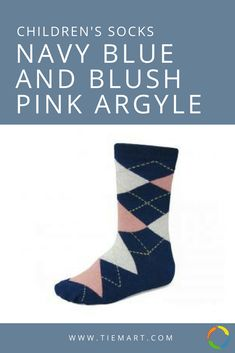 Perfect for ring bearers! These children's navy blue and blush pink argyle socks match our men's sizes.