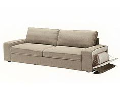 This couch is GENIUS! It's a sleeper sofa (though it totally doesn't look like one) and the BEST part - the arm unzips to store pillows and blankets! So smart! Ikea, $949