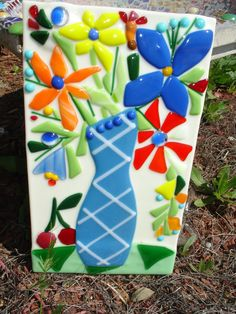 Fused Glass Flowers and Vase $45