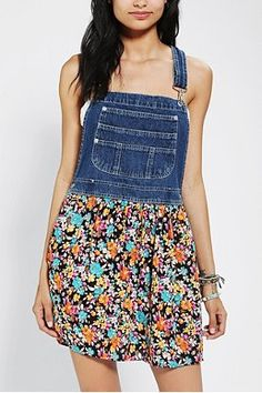 Urban Outfitters overall dress. Easy DIY with Good will overalls and any fabric! Cute!