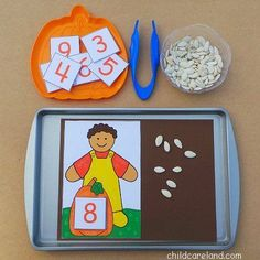 Really cute fall counting activity.  Works on building number sense by counting using 1:1 correspondence and matching number of objects with a printed numeral.  Also works on fine motor skills, a bonus in any special education setting.  Get the free templates for this cute activity at: http://www.childcarelandblog.com/2013/10/pumpkin-seed-counting.html