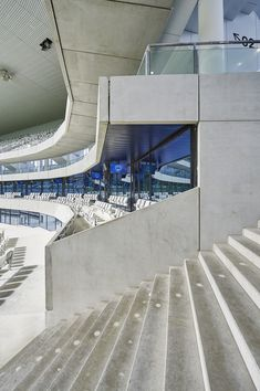 Image 38 of 56 from gallery of Gallery: Inside Herzog & de Meuron's Bordeaux Stadium During Its Inaugural Match. Photograph by Philippe Caumes Stadium Architecture, Concept Architecture, Architecture Details, Modern Architecture, Grand Staircase, Stairs, Bordeaux, Architectural Photographers, Pavilion