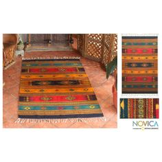 Mexican 'Tequila Sunrise' Zapotec Wool Rug (4' x 6') | Overstock.com Shopping - Great Deals on Novica 3x5 - 4x6 Rugs