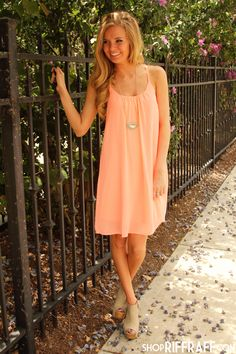 BRIGHT ON POINT - NEON CORAL with a jean jacket it would be modest and super cute!