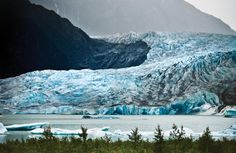 The Mendenhall glacier, only a 15 minute drive from downtown Juneau.  Receding due to climate change, but still enough ice to make several martinis for everyone on the planet. #Juneau #Alaska #ice