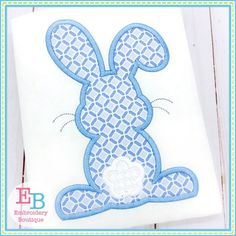 Boys Easter Bunny Shirt or Bodysuit - Easter - First Easter - Monogram Bunny - Boys Easter Shirt - Easter Bunny Embroidery Boutique, Embroidery Applique, Machine Embroidery, Applique Designs, Embroidery Designs, Applique Ideas, Easter Shirts For Boys, Satin Stitch, Cute Bunny