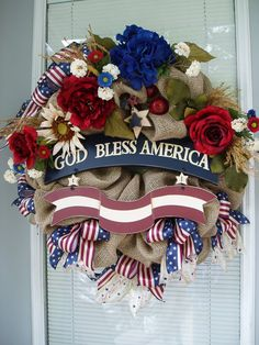 Memorial Day, 4th of July, Patriotic, Americana in Burlap Deco Mesh Wreath with Red off White Blue