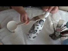 decoupage na butelce - YouTube