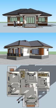Modern House Designs Single Floor Perfect for Those A Bud 3 Bedroom Single Storey House Bungalow Haus Design, Modern Bungalow House, Bungalow House Plans, 3 Bedroom Bungalow, Single Floor House Design, House Roof Design, Modern House Design, House Floor, House Layout Plans