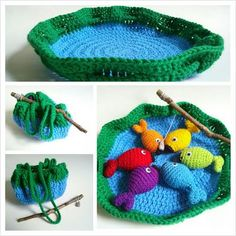 So cute!  Rainbow Fishing Game - Free Pattern  http://illhookyouup.blogspot.com/2013/09/rainbow-fishing-game-free-pattern.html
