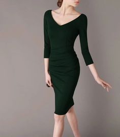 Green Dress 3/4 Sleeve Formal Autumn Dress