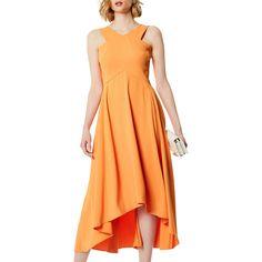 BuyKaren Millen Flared Midi Dress, Orange, 6 Online at johnlewis.com