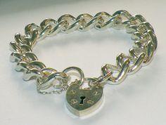 Very Heavy 925 Sterling Silver Hallmarked Curb Charm Bracelet Large 77 Grams | eBay