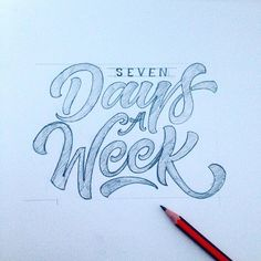 """""""Seven days a week, 2nd iteration. Fixed some shapes, overall contrast and the position of the first line. Now this writing looks more aligned to the…"""""""
