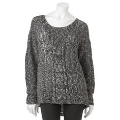 Mudd Marled Hi-Low Sweater - Juniors - Large - Black or Ice Blue