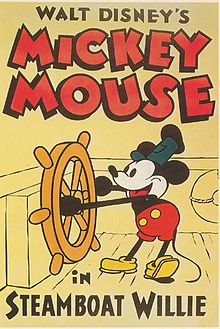 In the first animation was released by Walt Disney. Steamboat Willie featured Mickey Mouse and it was a short film. It ran for almost 8 minutes and was in black- and- white. Walt Disney Mickey Mouse, Mickey Mouse Vintage, Mickey Mouse Cartoon, Mickey Mouse And Friends, Minnie Mouse, Mickey Cartoons, Posters Disney Vintage, Retro Disney, Disney Movie Posters