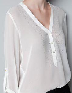 BLOUSE WITH DIAMANTE BIB FRONT - Shirts - Woman - ZARA Spain