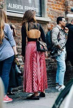 Backless Top & Midi Skirt | Milan Fashion Week Street Style