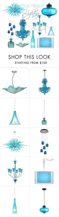 """Blue Ribbon Lighting"" by lampsplus ❤ liked on Polyvore featuring interior, interiors, interior design, home, home decor, interior decorating, Van Teal, Cyan Design, Jamie Young and Possini Euro Design"