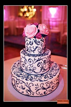 Boston Wedding Photography, Boston Event Photography, Wedding Cake, Black and White Wedding Cake, Pink Roses