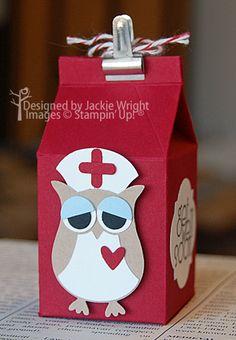 My neglected owl punch Stampin' Up! Mini Milk, Milk Box, Owl Crafts, 3d Paper Crafts, Milk Carton Crafts, Owl Punch Cards, Owl Card, Get Well Cards, Stampin Up Cards