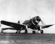 A U.S. Marine Corps Vought F4U-1 Corsair of Marine fighter squadron VMF-213 heck Hawks is warming up for fight from the flight deck of the escort carrier USS Copahee (ACV-12), on 29 March 1943.