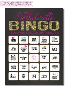 Bachelorette Party Game {INSTANT DOWNLOAD!} Printable Bachelorette Game Dare Sheet with Black, Pink & Gold Glitter (Only $6 on etsy)
