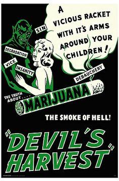 Marijuana Devils Harvest Vintage Movie Poster Canvas Print by Retro Movie Posters & Propaganda Art on Pulp Fiction, Vintage Movies, Vintage Posters, Funny Vintage Ads, Vintage Signs, Vintage Art, Vintage Menu, Funny Ads, Vintage Canvas
