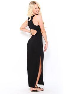 Open Back Maxi #Dress in Black