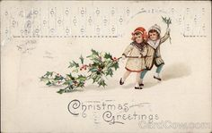 Two Children Pulling a Holly Branch Series 7506 Christmas Greetings