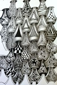 "photo by beadspeak, via Flickr - Y-Ful Power Study. A great interpretation of my Zentangle pattern! Nice to see it ""out there"" being useful!"