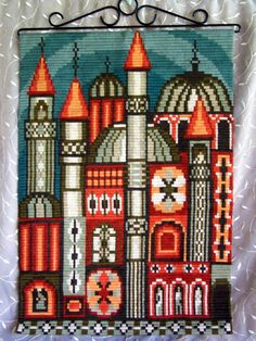 Woven cotton tapestry Textile wall hanging ? Turkish architecture Rich in color pattern lines texture by STUFFEZES on Etsy