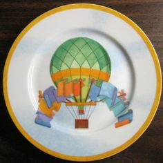 Decorative Dishes - Whimsical Green Hot Air Balloon Flags Sky Gold Edge Plate Japan, $19.99 (http://www.decorativedishes.net/whimsical-green-hot-air-balloon-flags-sky-gold-edge-plate-japan/)