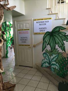 Magalie Sarnataro's props Jungle decor details  Jungle spy entrance Jungle Theme Decorations, Jungle Safari, Spy, Entrance, James Bond, Nature, Plants, Gold, Blue