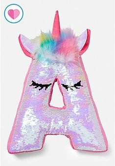 Justice - Your Space Girls Unicorn Flip Sequin Initial Pillow. Tween Girls Bedroom Décor, Bedding, and Accessories from Justice.