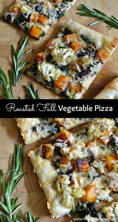 Roasted Fall Vegetable Pizza- Roasted Fall Vegetable Pizza recipe … celebrate autumn with a delicious vegetarian pizza that's topped with all your favorite fall veggies, including cauliflower, butternut squash, and more! Vegetarian Pizza, Vegetarian Recipes, Healthy Recipes, Paleo Pizza, Healthy Eats, Vegetable Pizza Recipes, Roasted Veggie Pizza Recipe, Veggie Meals, Roasted Fall Vegetables