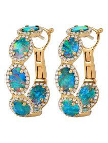 Royal Opal Diamond Hoops #opalsaustralia