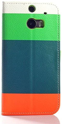 myLife Orange and Lime Green {Four Stripe Design} Faux Leather (Card, Cash and ID Holder + Magnetic Closing) Slim Wallet for the All-New HTC...