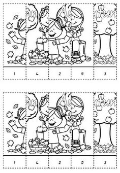 Autumn Number Puzzles - Cut and Paste