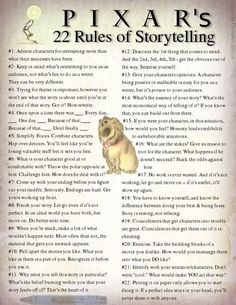 Writing Stories: Storytelling Rules from PIXAR