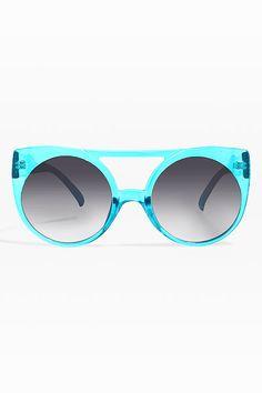 Piper Oversized Mod Round Sunglasses - Blue celebrity sunglasses