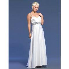 Elegante lange Abschlusskleider A-Linie  Weiß mit Trägern