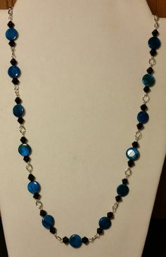 Handmade Beaded Necklace with Aqua Swirl by KimsSimpleTreasures, $20.00