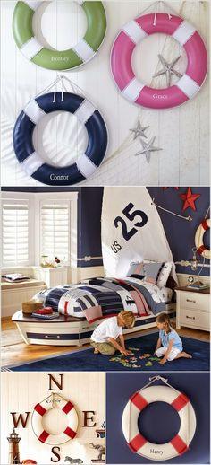 Adorable Sea Themed Kids Room Wall Decor Ideas - Hang Some Lifesavers for Fun