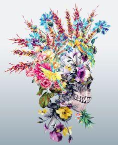 Punk Portrait Art Print by rizapeker Totenkopf Tattoos, Skeleton Art, Floral Skull, Sugar Skull Art, Skull Decor, Anatomy Art, 5d Diamond Painting, Skull Tattoos, Portrait Art