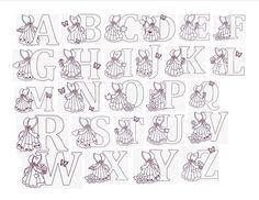 Alfabetos Lindos: Alfabeto Sunbonnet Sue molde de letras